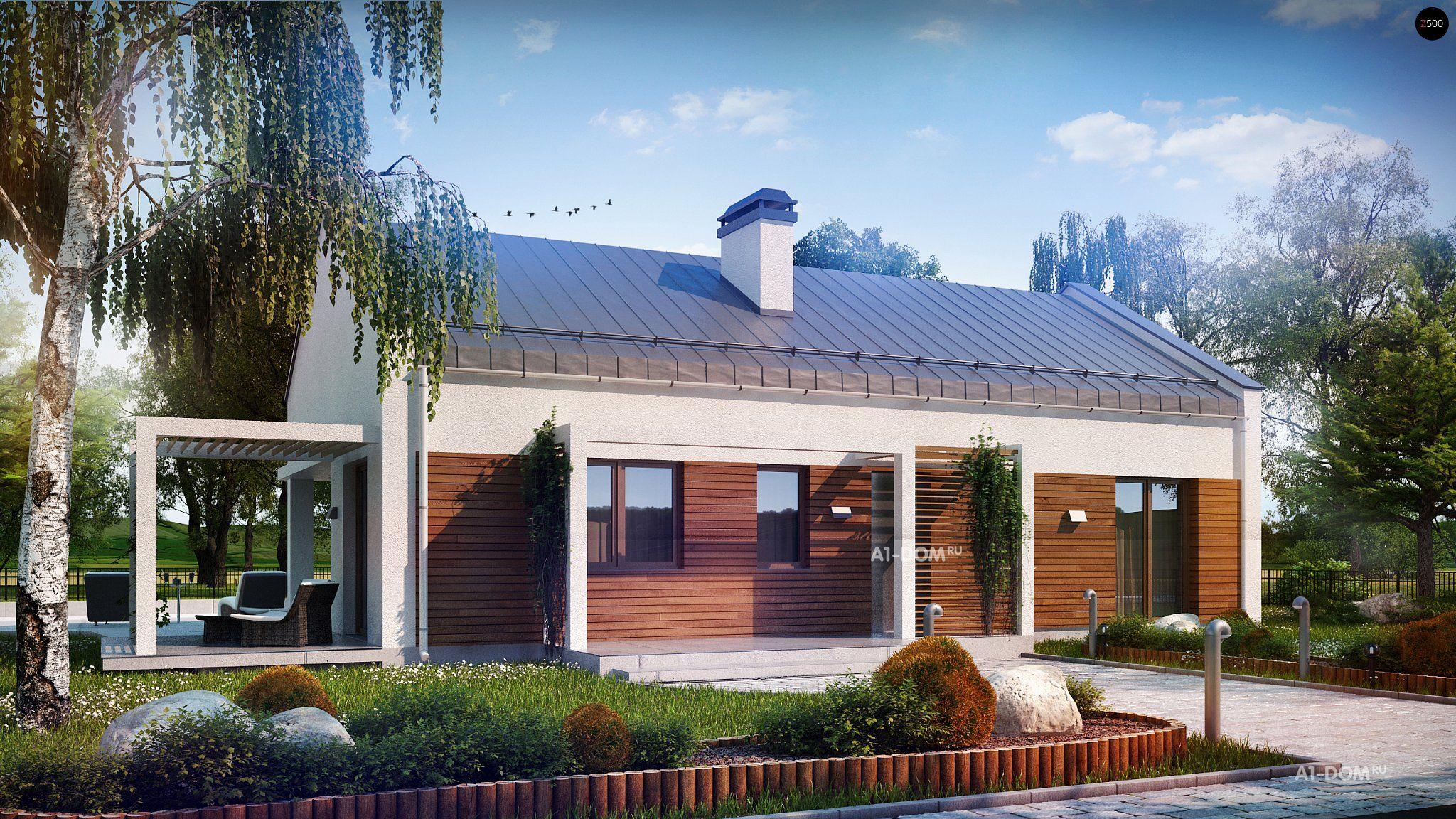 Проекты одноэтажных домов с террасой