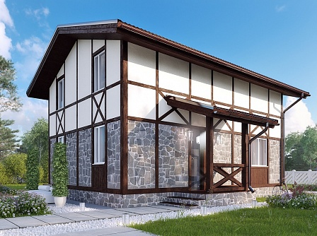 Проект маленького дома из газобетона с мансардой «Вистон»